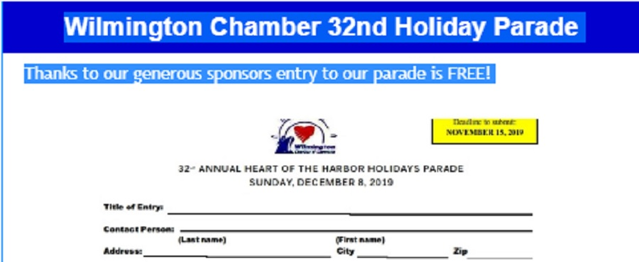 Entry form for parade